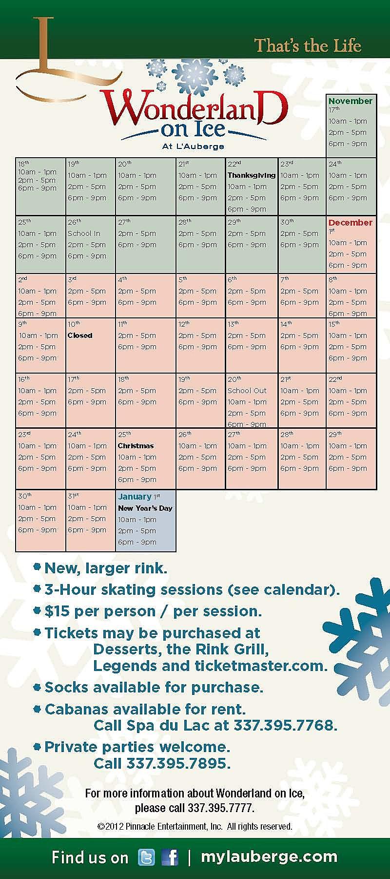 Ice Rink schedule